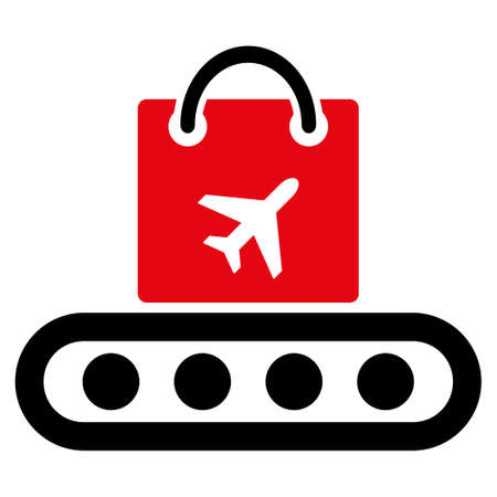 ico: Baggage Conveyor vector icon. Style is flat symbol, rounded angles, white background. Illustration