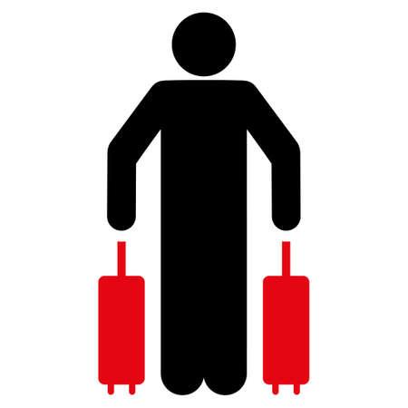 ico: Passenger Luggage vector icon. Style is flat symbol, rounded angles, white background. Illustration