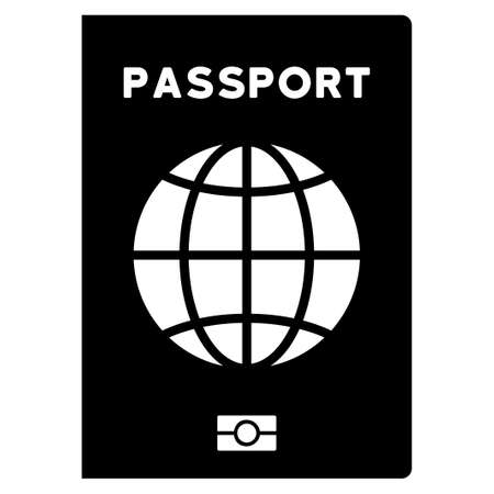 credential: World Passport vector icon. Style is flat symbol, rounded angles, white background. Illustration
