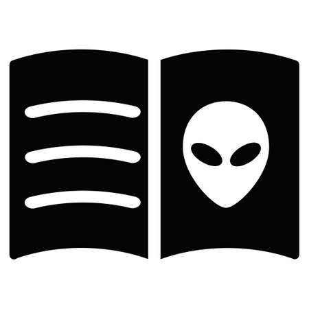 alien face: Alien Face Book vector icon. Style is flat symbol, rounded angles, white background.