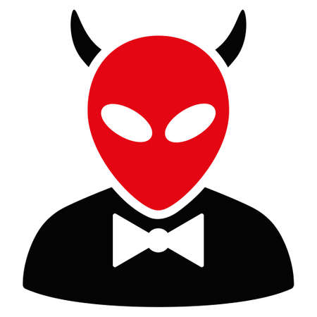 fearsome: Devil vector icon. Style is flat symbol, rounded angles, white background.