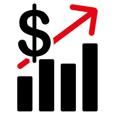 sales growth: Sales Growth vector icon. Style is flat symbol, rounded angles, white background. Illustration