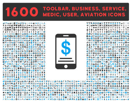 toolbar: Mobile Wallet vector icon and 1600 other business, service tools, medical care, software toolbar, web interface pictograms. Style is bicolor flat symbols, blue and gray colors, rounded angles, white background.