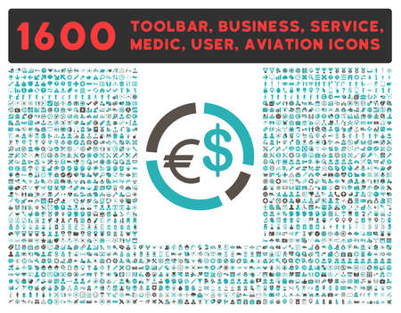 cyan business: Currency Diagram glyph icon and 1600 other business, service tools, medical care, software toolbar, web interface pictograms. Style is bicolor flat symbols, grey and cyan colors, rounded angles, white background. Stock Photo