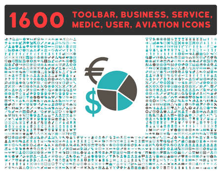 health care analytics: Currency Pie Chart glyph icon and 1600 other business, service tools, medical care, software toolbar, web interface pictograms. Style is bicolor flat symbols, grey and cyan colors, rounded angles, white background. Stock Photo