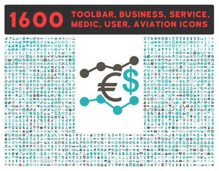 health care analytics: Currency Trends glyph icon and 1600 other business, service tools, medical care, software toolbar, web interface pictograms. Style is bicolor flat symbols, grey and cyan colors, rounded angles, white background. Stock Photo
