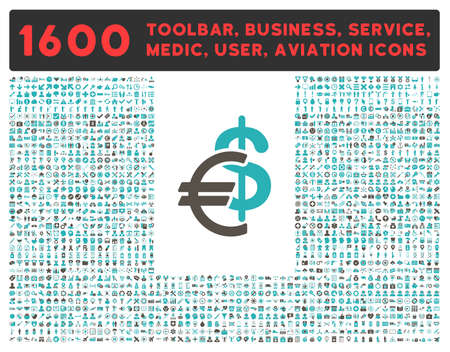 cyan business: Currency glyph icon and 1600 other business, service tools, medical care, software toolbar, web interface pictograms. Style is bicolor flat symbols, grey and cyan colors, rounded angles, white background.