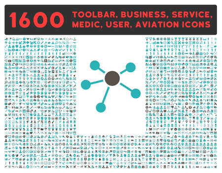 toolbar: Connections glyph icon and 1600 other business, service tools, medical care, software toolbar, web interface pictograms. Style is bicolor flat symbols, grey and cyan colors, rounded angles, white background. Archivio Fotografico