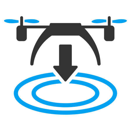 descend: Copter Landing vector icon. Style is flat symbol, rounded angles, white background.