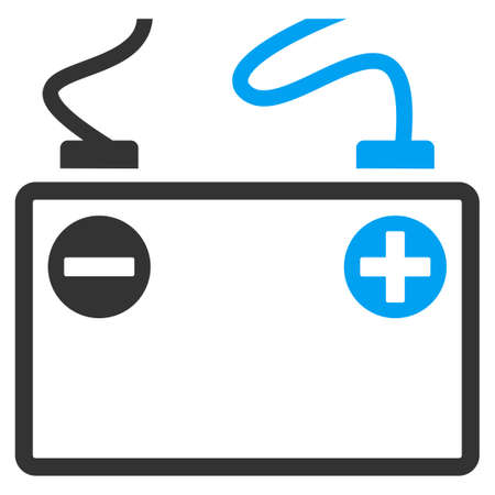 cadmium: Accumulator Battery vector icon. Style is flat symbol, rounded angles, white background. Illustration