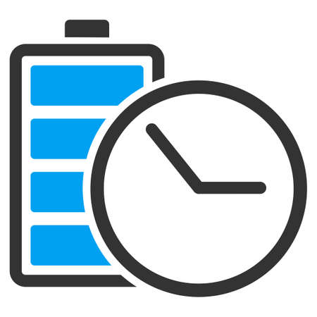 ico: Battery Clock vector icon. Style is flat symbol, rounded angles, white background. Illustration