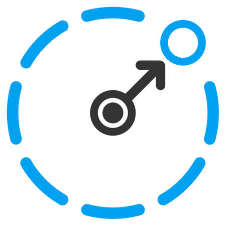 ico: Circular Area Border vector icon. Style is flat symbol, rounded angles, white background.