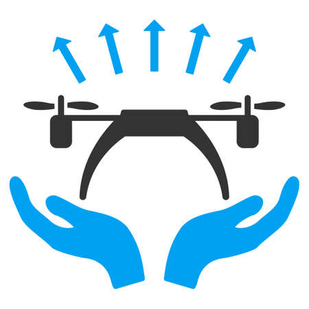 aircraft take off: Copter Startup vector icon. Style is flat symbol, rounded angles, white background. Illustration