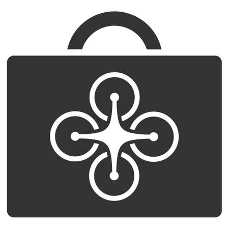 ico: Drone Case vector icon. Style is flat symbol, rounded angles, white background.