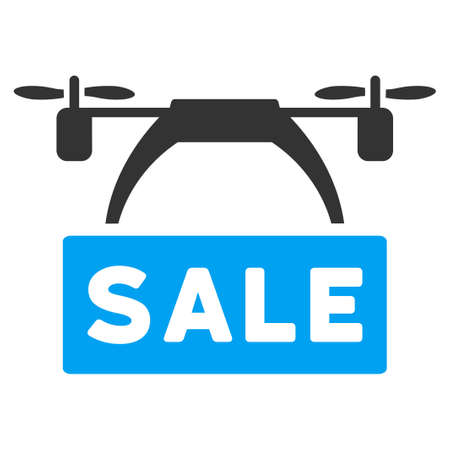 airflight: Drone Sale Banner vector icon. Style is flat symbol, rounded angles, white background. Illustration