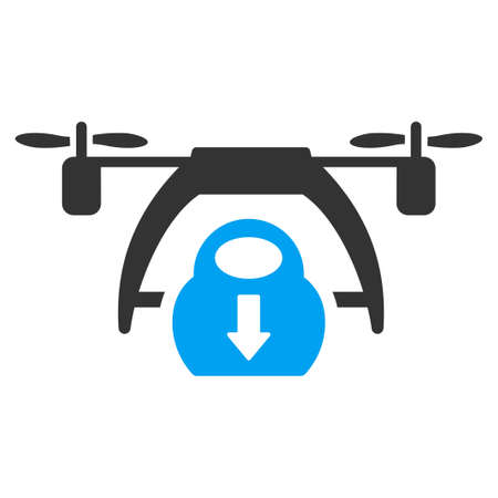 descend: Drone Unloading vector icon. Style is flat symbol, rounded angles, white background.
