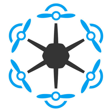 ico: Flying Hexacopter vector icon. Style is flat symbol, rounded angles, white background. Illustration