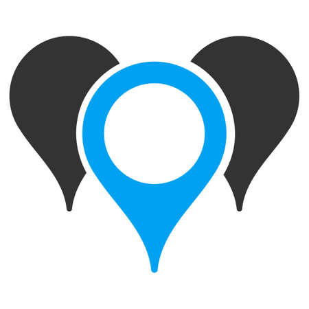 Map Markers vector icon. Style is flat symbol, rounded angles, white background.