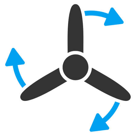 airscrew: Three Bladed Screw Rotation vector icon. Style is flat symbol, rounded angles, white background. Illustration