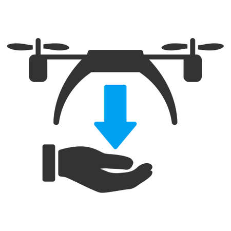 unload: Unload Drone vector icon. Style is flat symbol, rounded angles, white background. Illustration