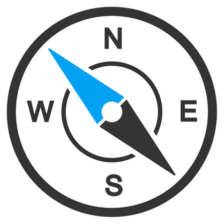 brujula: Icono del vector de la brújula. El estilo es el símbolo plano, ángulos redondeados, fondo blanco. Vectores
