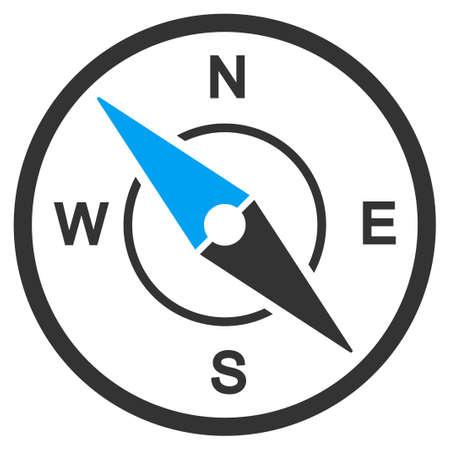 bussola: Vettore icona bussola. Lo stile è simbolo piatta, angoli arrotondati, sfondo bianco. Vettoriali
