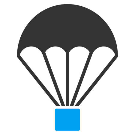 Parachute vector icon. Style is flat symbol, rounded angles, white background. Stock Illustratie