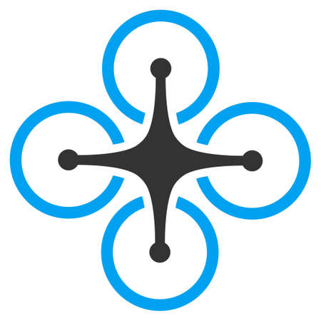 unmanned: Quadrocopter vector icon. Style is flat symbol, rounded angles, white background. Illustration