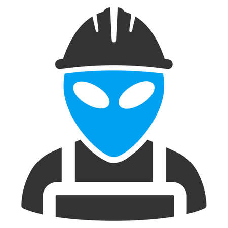 draftsman: Alien Worker vector icon. Style is flat symbol, rounded angles, white background.