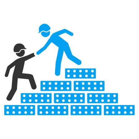 ビルダーは、ベクトルのアイコン階段を助けます。スタイルは、フラット記号、丸みを帯びた角、白い背景です。