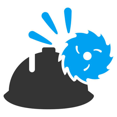 warning saw: Circular Blade Head Protection vector icon. Style is flat symbol, rounded angles, white background. Illustration