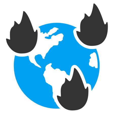 ico: Earth Disasters vector icon. Style is flat symbol, rounded angles, white background.