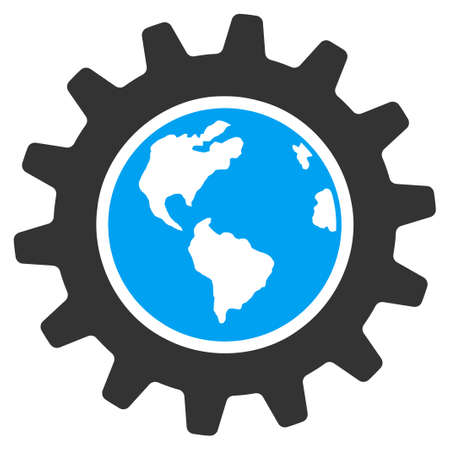 gear icon: Earth Engineering vector icon. Style is flat symbol, rounded angles, white background.