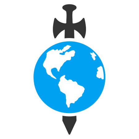 ico: Earth Guard vector icon. Style is flat symbol, rounded angles, white background.