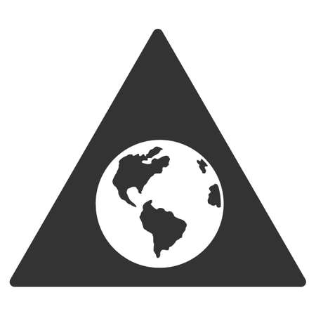 ico: Earth Warning vector icon. Style is flat symbol, rounded angles, white background.