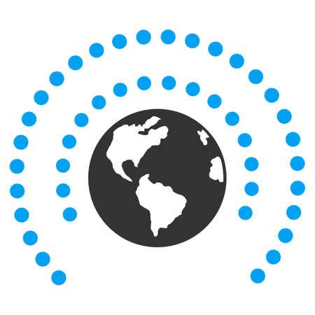 escudo: Icono del vector de la Tierra Esfera Shield. El estilo es el s�mbolo plano, �ngulos redondeados, fondo blanco.