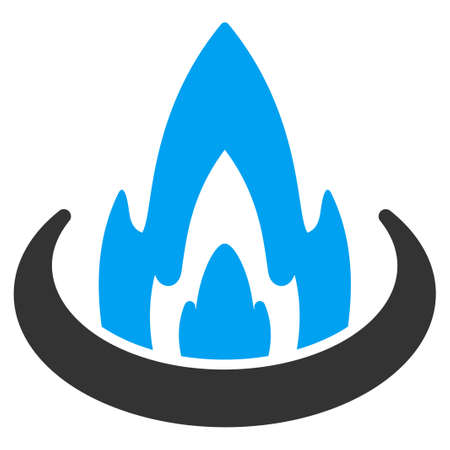 ico: Fire Location vector icon. Style is flat symbol, rounded angles, white background.