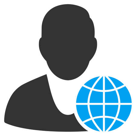 ico: Global Manager vector icon. Style is flat symbol, rounded angles, white background.