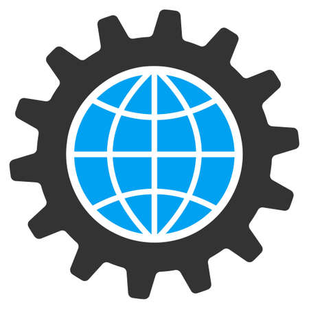global settings: Global Options vector icon. Style is flat symbol, rounded angles, white background. Illustration