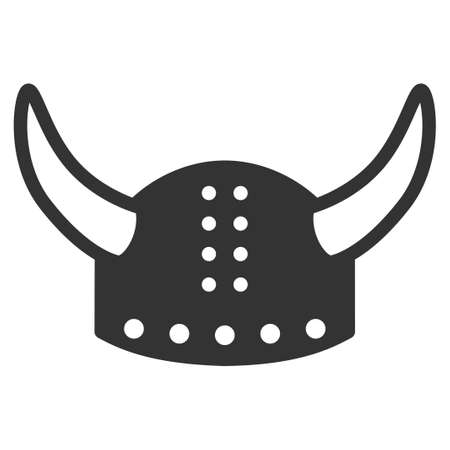 ico: Horned Helmet vector icon. Style is flat symbol, rounded angles, white background.