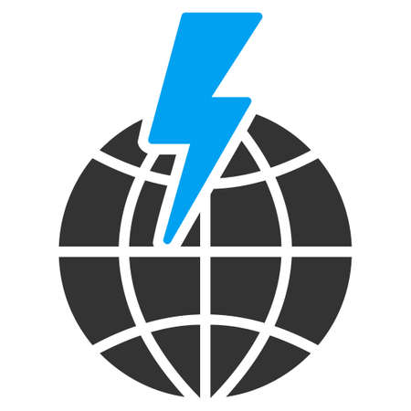 ecological damage: Global Shock vector icon. Style is flat symbol, rounded angles, white background.