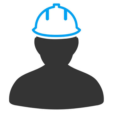 hardhat icon: Person In Hardhat vector icon. Style is flat symbol, rounded angles, white background. Illustration