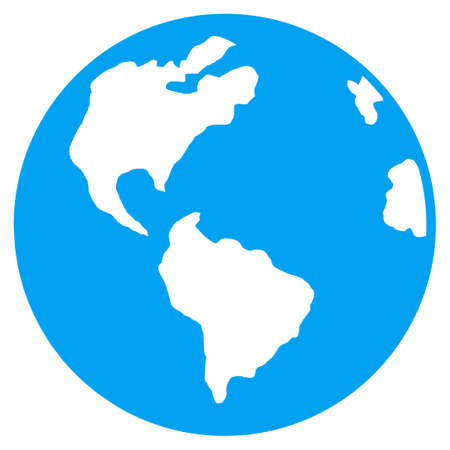 ico: Planet Earth vector icon. Style is flat symbol, rounded angles, white background.