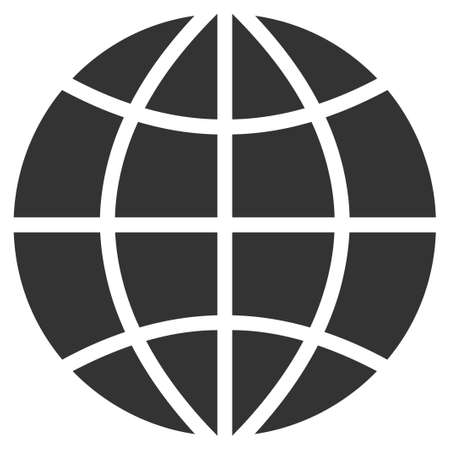 ico: Planet Globe vector icon. Style is flat symbol, rounded angles, white background.