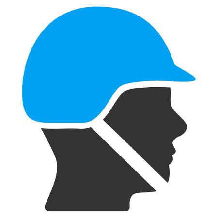 soldado: Soldado del vector del icono del casco. El estilo es el símbolo plano, ángulos redondeados, fondo blanco.