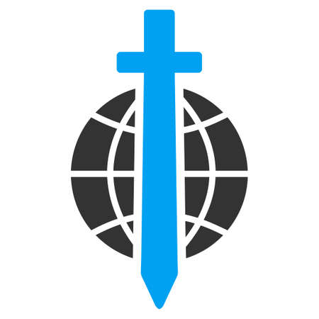 govern: Sword Globe vector icon. Style is flat symbol, rounded angles, white background.