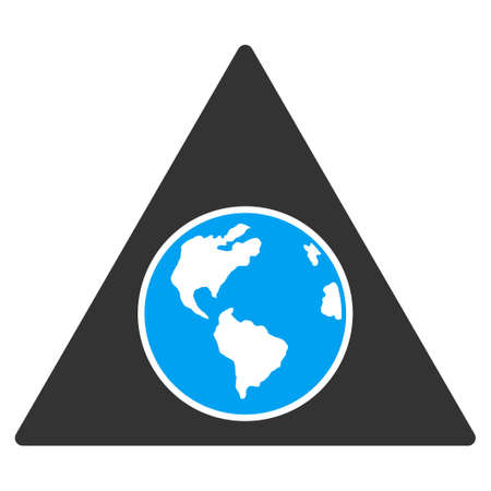 Terra Triangle vector icon. Style is flat symbol, rounded angles, white background.