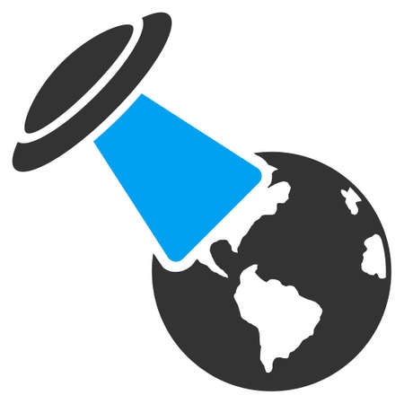 explores: Ufo Explores Earth vector icon. Style is flat symbol, rounded angles, white background.