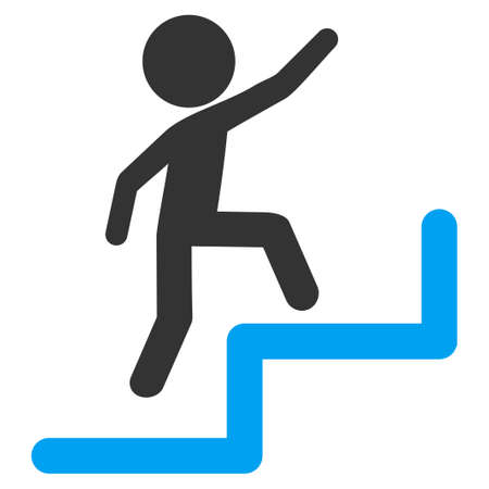 upstairs: Child Steps Upstairs vector icon. Style is flat symbol, rounded angles, white background.