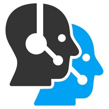 operators: Call Center Operators vector icon. Style is bicolor flat symbol, blue and gray colors, rounded angles, white background.